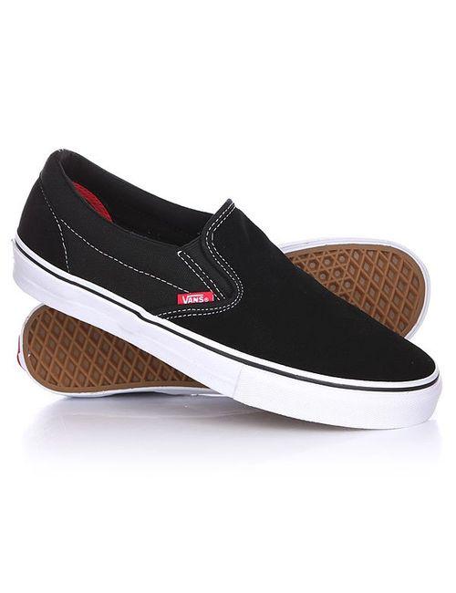 Vans | Мужские Чёрные Слипоны Slip On Pro Black/White/Red
