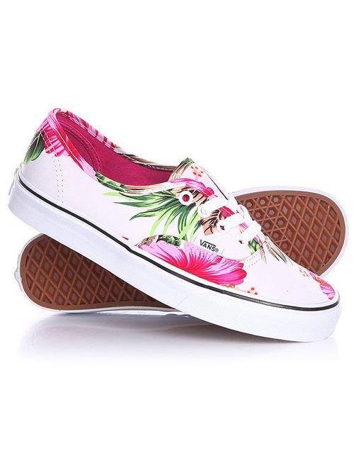 Vans   Женские Розовые Кеды Кроссовки Женские Authentic Hawaiian Floral White
