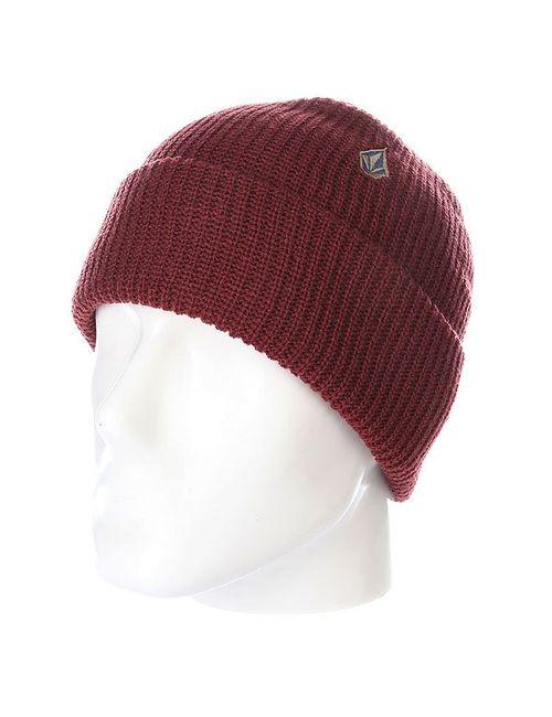 Volcom | Мужская Красная Шапка Носок Cuff Beanie Burgundy