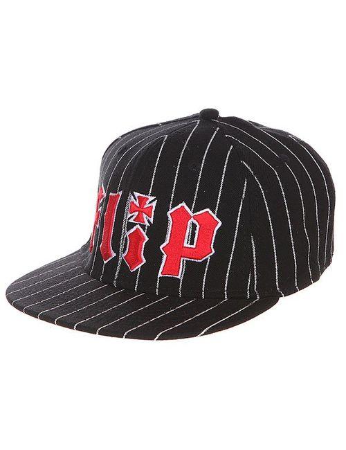 Flip | Мужская Чёрная Бейсболка С Прямым Козырьком Pinstriped Stretch Black