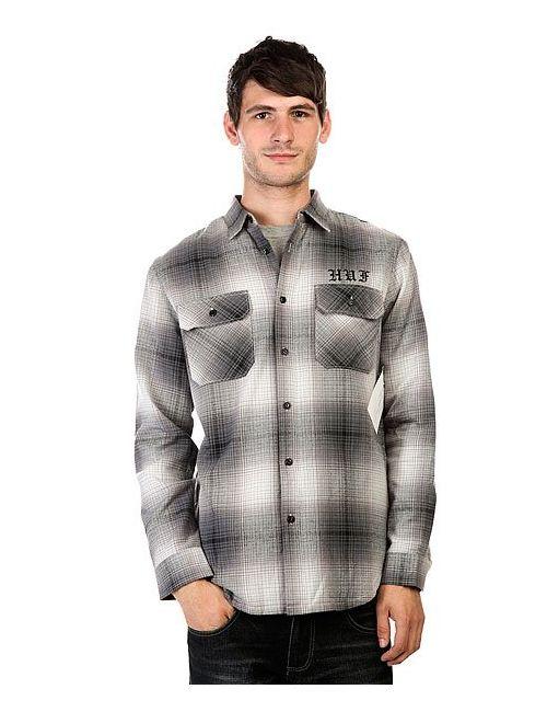 Huf | Мужская Серая Рубашка Утепленная Alameda Quilted Premium Flannel Black