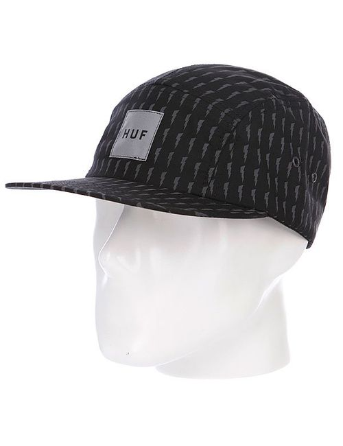 Huf | Мужская Чёрная Бейсболка Пятипанелька Thunder Bolt Box Volley Black/Grey