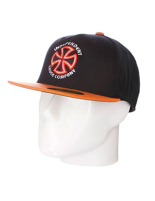 Independent | Мужская Оранжевая Бейсболка Flexfit Bauhaus Cross Flexfit Black/Orange