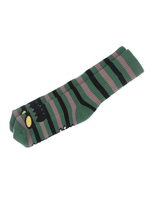 Toy Machine | Мужские Чёрные Носки Средние Monster Stripe Green/Brown
