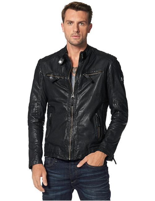 Maze   Мужская Чёрная Кожаная Куртка