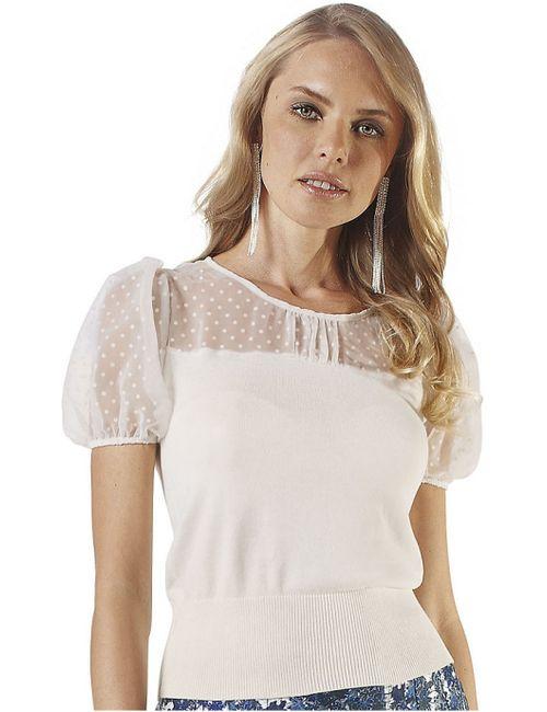Modeszene | Женская Цвет Белой Шерсть Кофточка
