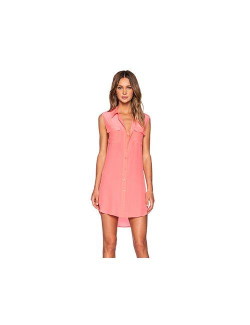Equipment   Женское Розовое Платье Без Рукавов Slim Signature