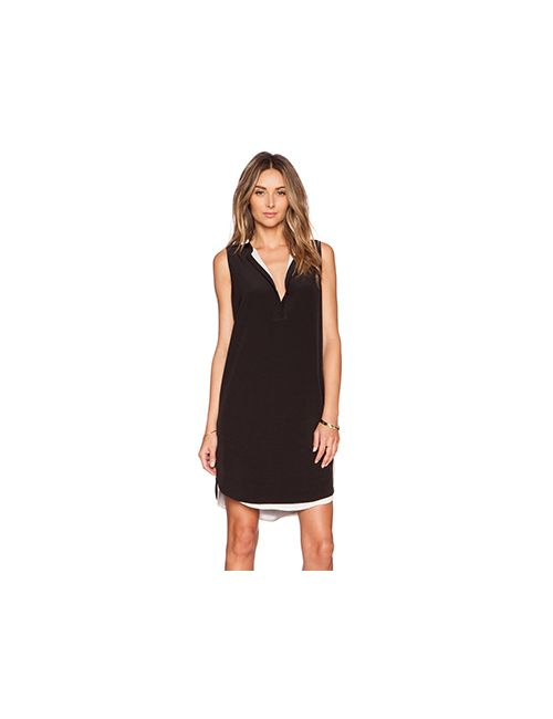 Vince | Женское Чёрное Платье С Двойной Подкладкой