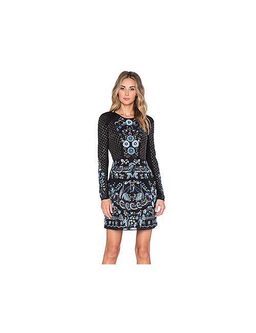 Needle & Thread | Женское Чёрное Кружевное Платье В Сеточку С Длинным Рукавом