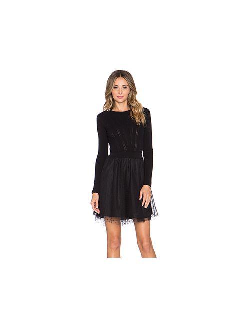 Red Valentino | Женское Чёрное Платье Tulle Skirt Sweater