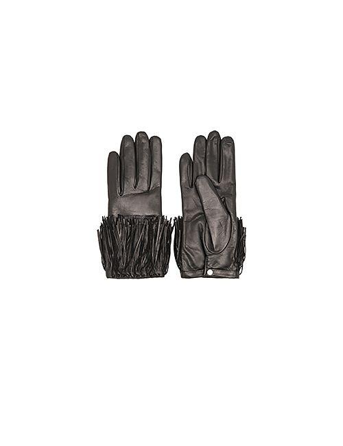Diane Von Furstenberg | Чёрные Кожаные Перчатки С Бахромой