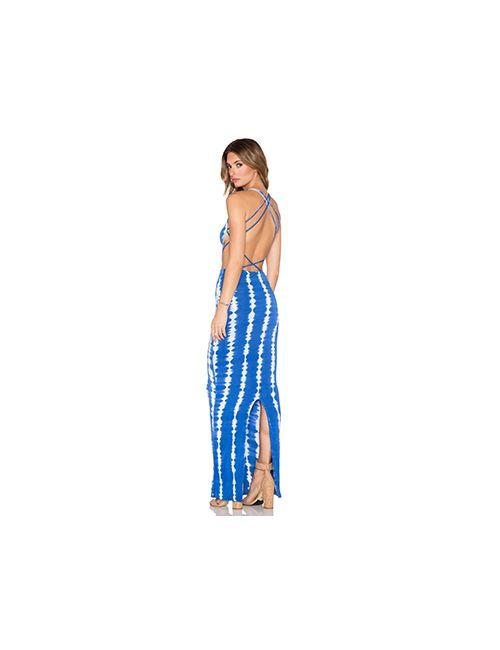 Indah | Женское Синее Макси-Платье С Вырезом Tamaa
