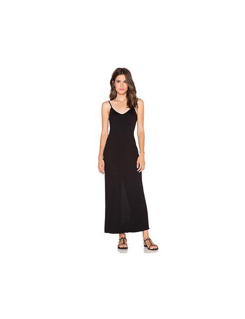 Heather | Женский Чёрный Макси Платье Rib Slit Back