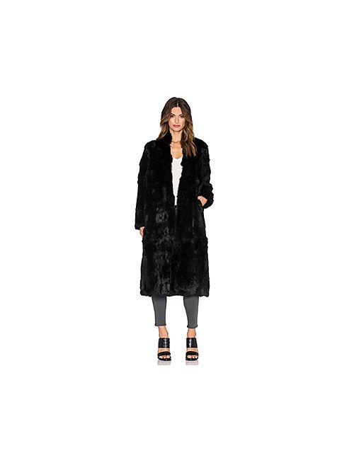 Adrienne Landau   Женское Чёрное Пальто Из Меха Кролика
