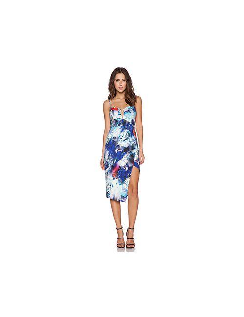 BARDOT | Женское Синее Ярусное Платье С Цветочным Рисунком