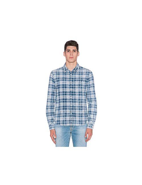 Joe'S Jeans | Мужская Синяя Приталенная Двухслойная Рубашка В Клеточку С Одним