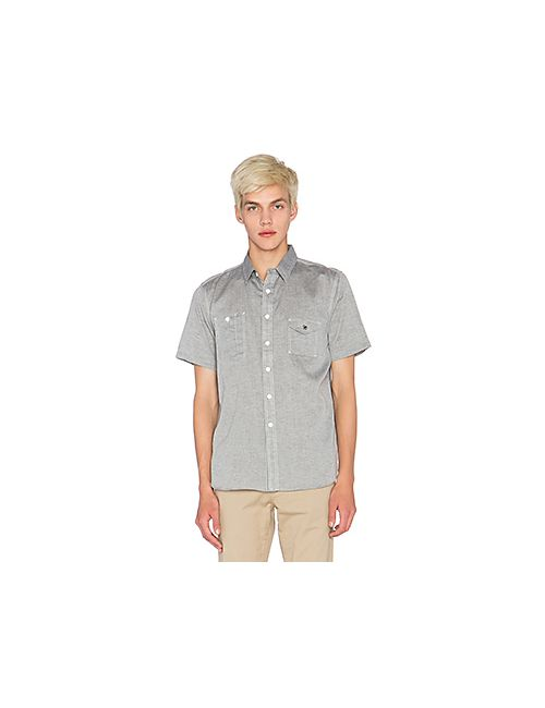 Huf | Мужская Синяя Рубашка Chambray Short Sleeve