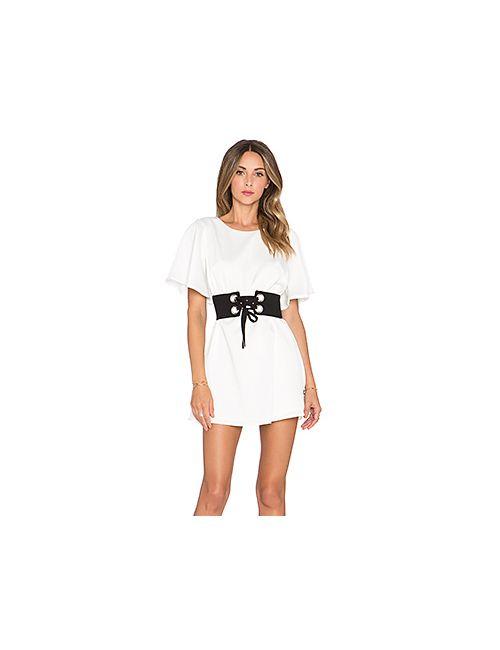 NBD | Женское Белое Платье С Коротким Рукавом Lock N Load