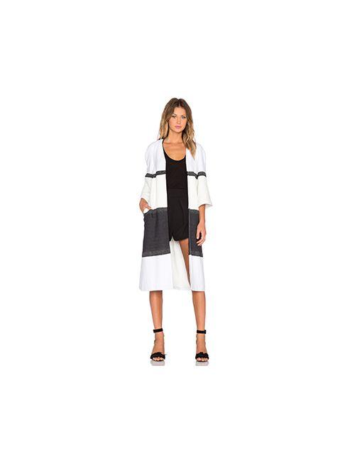 TY-LR | Женское Белое Полосатое Пальто The Destino