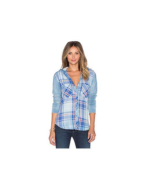 Bella Dahl   Женская Синяя Рубашка С Капюшоном На Пуговицах