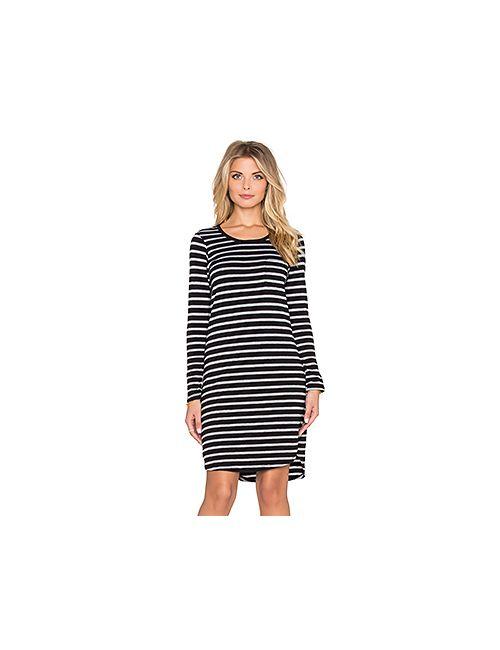 Sundry | Женские Чёрные Мини Платье Striped Long Sleeve Pocket