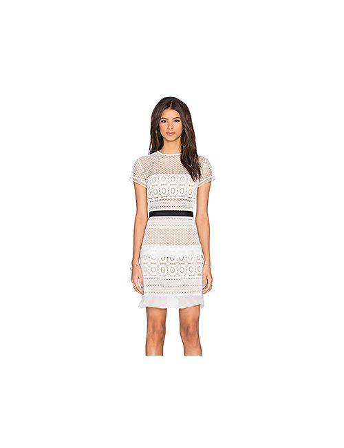 SELF-PORTRAIT | Женское Белое Кружевное Мини-Платье Oblique