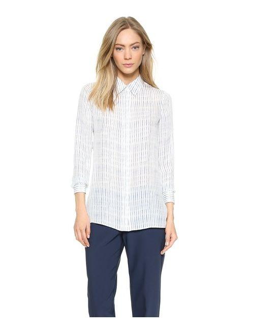 Vince | Женская Льняная Рубашка На Пуговицах С Размытым Рисунком
