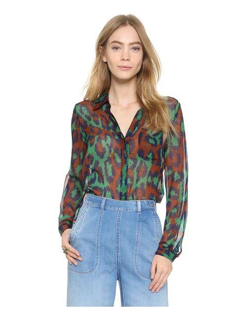 Diane Von Furstenberg | Женская Зелёная Рубашка На Двух Пуговицах Lorelei