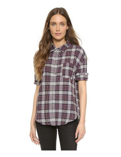 Elizabeth And James | Женская Черно-Вишневая Клетка Рубашка На Пуговицах New Carine