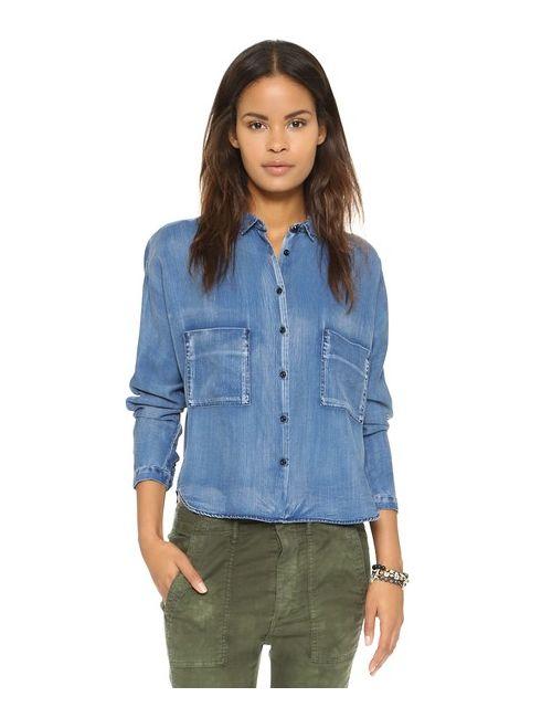 Maison Scotch | Женская Синяя Укороченная Рубашка