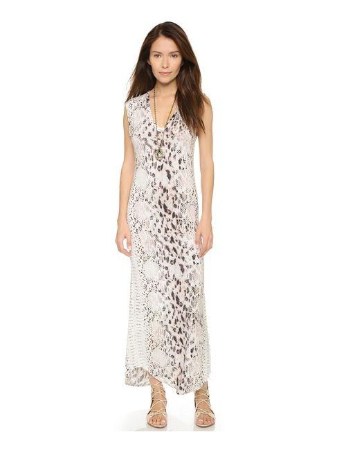 Haute Hippie | Женское Оранжевое Длинное Платье Без Рукавов С V-Образным Вырезом