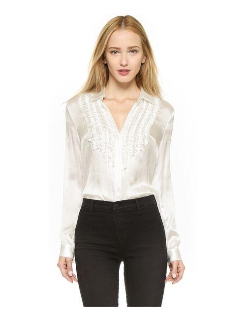 L'Agence | Женская Золотая Блуза Chloe С Оборками Спереди