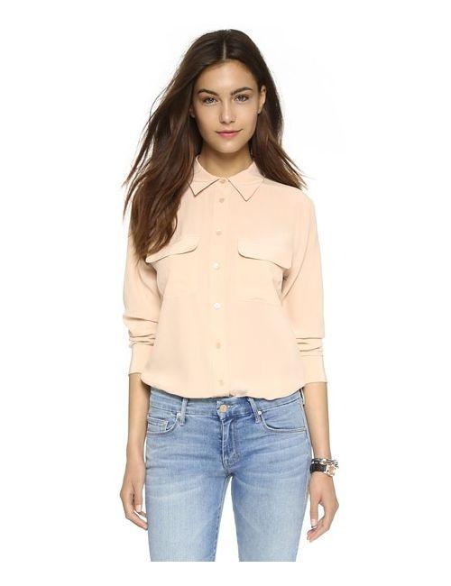 Equipment | Женская Оранжевая Узкая Фирменная Блуза