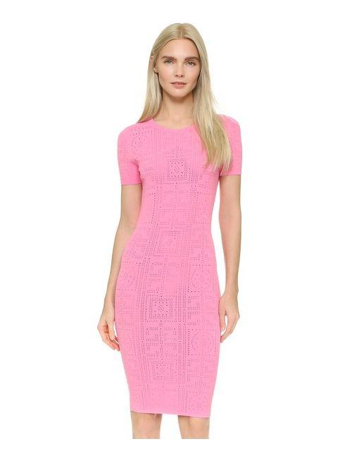 Versace | Женское Розовое Трикотажное Платье С Короткими Рукавами