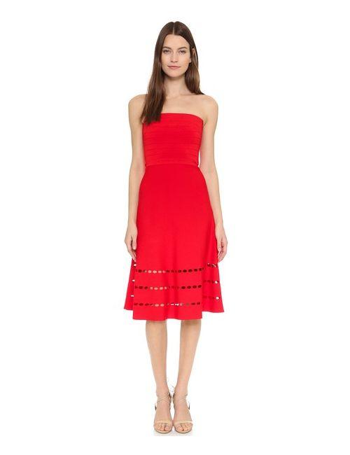 Ohne Titel | Женское Красное Платье Без Бретелек С Перфорацией