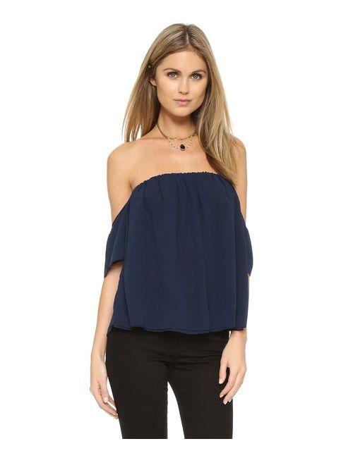 MISA | Женская Синяя Блуза Со Спущенными Плечами