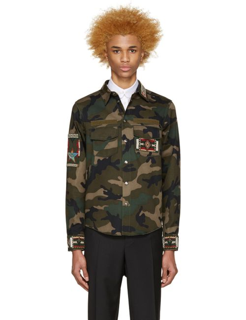 Valentino | F00 Army Green Beaded Camo Jacket