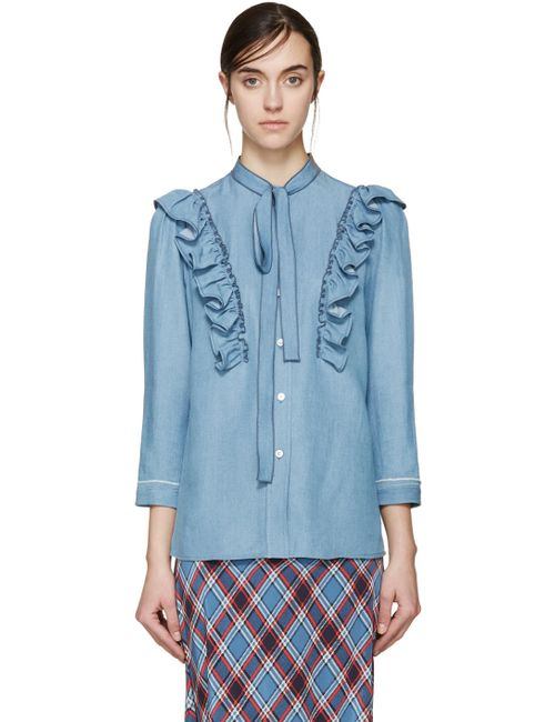 Marc Jacobs | Синий Blue Ruffled Slimmer Shirt