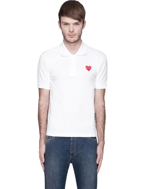 Comme des Gar ons Play | Белый White Red Logo Applique Polo