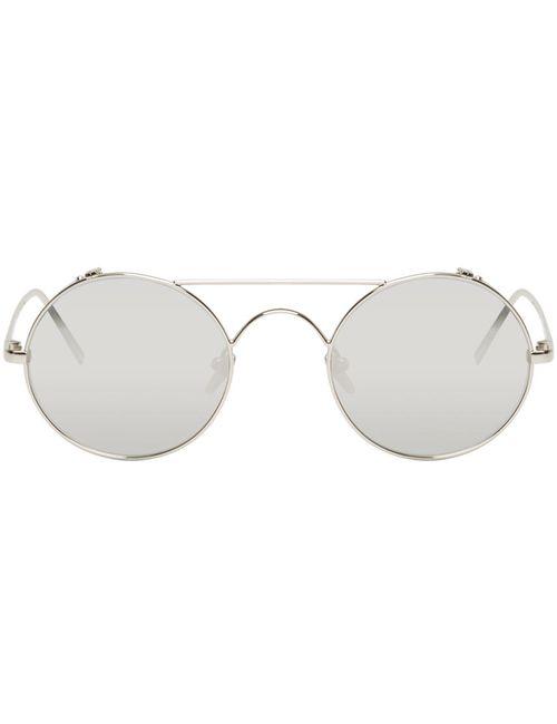 LINDA FARROW LUXE | Золотой Silver Titanium Round Sunglasses.