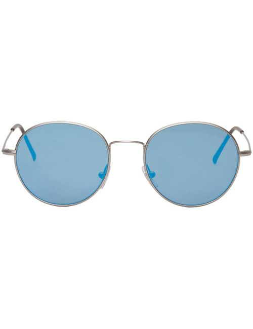 Super | Синий Silver Aviator Wire Sunglasses