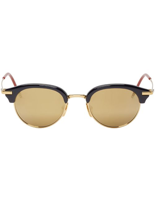 Thom Browne | Золотой Navy And Gold Round Sunglasses