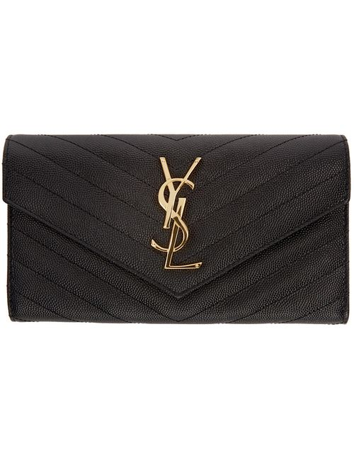 Saint Laurent | Чёрный Black Quilted Large Flap Monogram Wallet