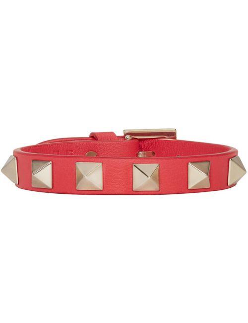 Valentino   F58 Fragola Red Leather Rockstud Bracelet