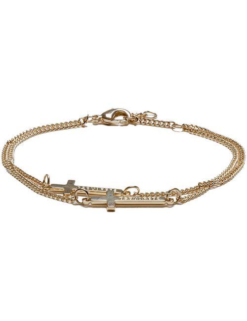 Dsquared2 | Золотой Gold Double Cross Bracelet.