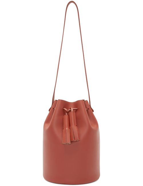 Building Block | Brick Red Leather Bucket Bag
