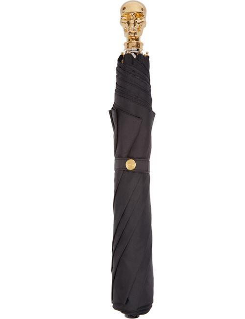 Alexander McQueen   Чёрный Black And Gold Skull Umbrella
