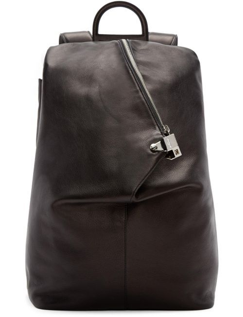 Wooyoungmi | Чёрный Black Leather Triangular Backpack