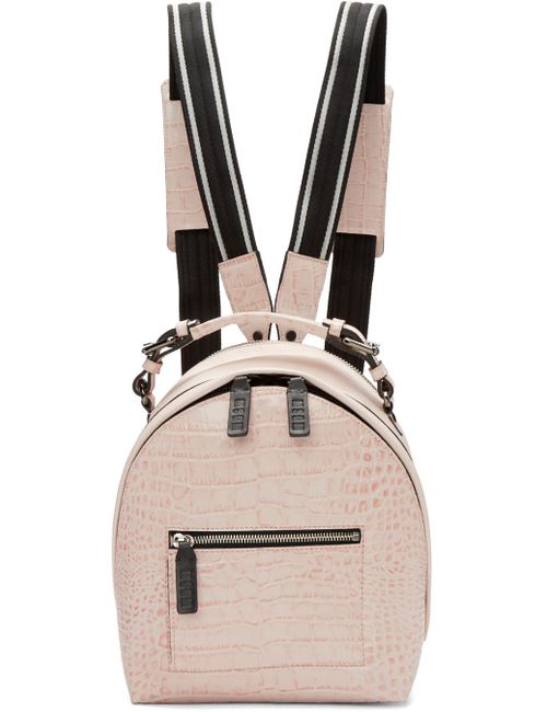 MSGM | Розовый Pink Croc-Embossed Small Backpack