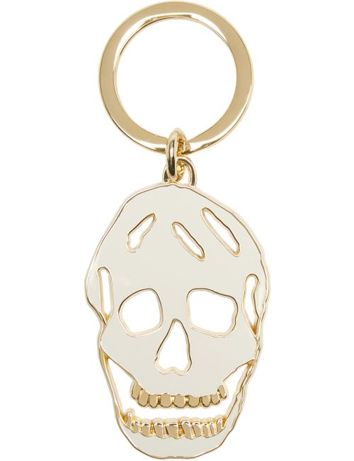 Alexander McQueen | Белый White And Gold Cut-Out Skull Keychain